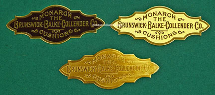 Antique Billiard Supply Die Cut Nameplate