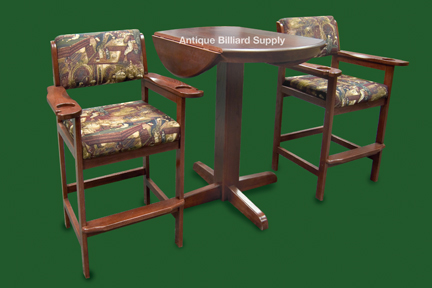 Antique billiard supply spectator chairs and table mahogany for Poolside table and chairs