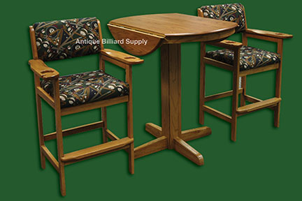 Antique billiard supply spectator chairs and table oak for Poolside table and chairs